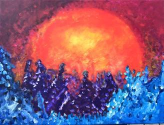 60X80 Akryl Canvas. Pris 2900kr. Lite sned i ramen.