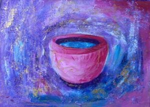 målning med ett rosa kärl med blått innehåll