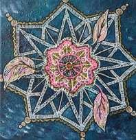 (Reapris 235kr) Mandala 20x20 Akryl Canvas. Pris 475kr. Går att beställa en personlig mandala där jag målar utifrån din energi. Pris: 600kr exkl budskap 950kr inkl budskap