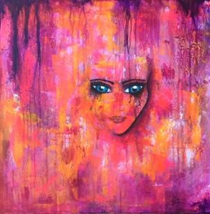 Abstrakt målning i akryl rosa och orange med ansikte i mitten