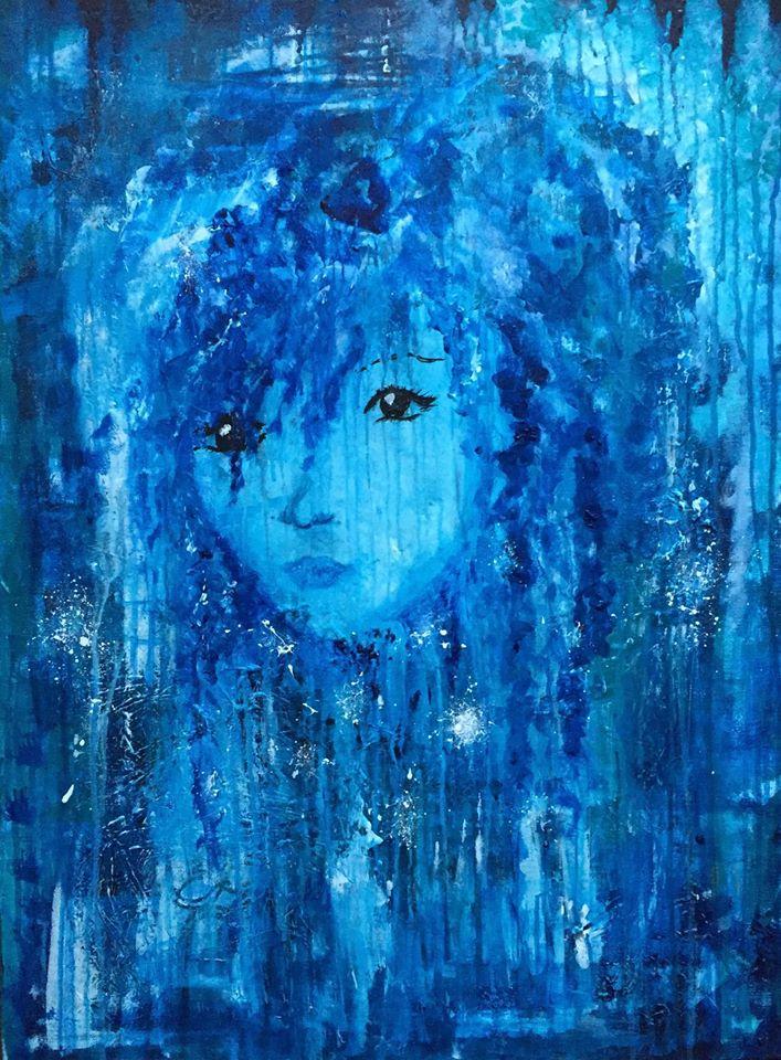 Akrylmålning i blått